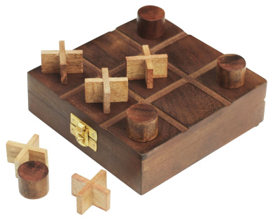 #1 Tic Tac Toe - SouvNear 14cm Wooden Game with Rosewood Storage Travel Box Set - Handmade Quality Wood Family Board Game