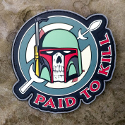 Boba Fett - Paid To Kill - Mandalorian Crest Star Wars PVC Morale Patch - Hook Hook and loop Backed by NEO Tactical Gear