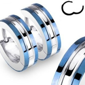 Pair of Earrings Unisex Men Women Teens Boys And Girls – Discreet and . Silver Colour Round Easy Clasp Ring Stainless Steel with Blue Trim