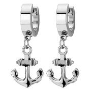 Pair Stainless Steel Huggie Hinged Hoop Earrings with Dangling Marine Anchor for Men Women Boys
