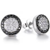 J.SHINE Men Earrings Fashion 925 Sterling Silver Stud Earrings with White/Black Micro Pave Cubic Zirconia, Diameter 10mm