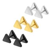 Cupimatch 3 Pairs Men Women Cool 8mm Triangle Stainless Steel Piercing Stud Earrings Ear Plug Tunnel