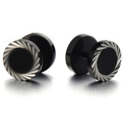 Illusion Tunnel Plug Black Stainless Steel Mens Earrings Screw Back with Laser Patterns, 2 Pcs