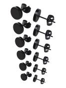 Mudder Stainless Steel Stud Earrings Set, 3 mm to 8 mm, 6 Pairs