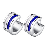 HIJONES Men's Stainless Steel Striped Huggie Hinged Hoop Stud Earrings 2pcs