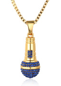 """Halukakah """"LITTLE SINGER"""" 18k Real Gold Plated Microphone Pendant Necklace with FREE Box Chain 80cm"""