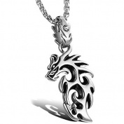 Stainless Steel Dragon Pendant by Vittore - Silver Tone Chain Necklace With Dragon For Men