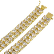 Men's 2-Row 14k Gold Plated Iced Out CZ Hip Hop Chain Necklace, 76 cm + Microfiber Jewellery Polishing Cloth