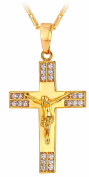 Gold Plated Necklace with Crucifix Cross Rhinestone Unisex