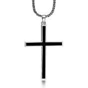 925 Sterling Silver Genuine Jesus Christ Crucifix Black Onyx Cross Charm Pendant Necklace For men