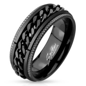 Blue Palm Jewellery - Black IP Grooved Edge Centre Black Chain Stainless Steel Spinner Ring R630