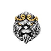 925 Sterling Silver Vintage Golden Hoop King Monkey Head men's Open Band Ring,adjustable