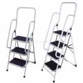 3 4 Step Steel Non Slip Ladder Tread Stepladder Safety Rail Handrail Foldable