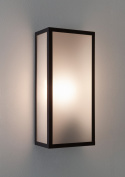 Astro Messina 7187 Exterior External Wall Light 60w E27 Black Frosted Glass