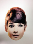 Audrey Hepburn Single 2d Card Fun Face Mask - Great For Hollywood Themed Parties