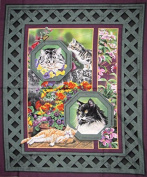 """""""Wild Wings"""" Cats in the Garden Cotton Fabric Panel (Great for Quilting, Sewing, Craft Projects, a Child's Quilt & More) 110cm x 90cm Wide"""