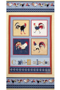 """""""Cock-A-Doodle-Doo!"""" Chicken & Rooster Fabric Quilt Block Panel - a Debbie Taylor Kerman Design (Great for Quilting, Sewing, Craft Projects, Quilt or Throw Pillows) 60cm X 110cm"""