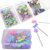Lwestine 400 Pcs Flat Button & Flower Head Pins,Straight Pins, Quilting Pins with Cases