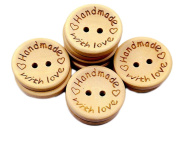 Freedi 100Pcs Wooden Buttons for Craft Sewing Bulk 2 Holes for DIY Scrapbooking Supplies