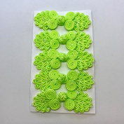Five Pairs of Bead Chinese Frogs fasteners closure buttons in Neon Green, Available in 12 Colours.