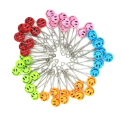 GTONEE Safety Pins Locking Baby Cloth Nappy Nappy Pins Stainless steel, Size L, 5.3cm Cute Smile Face Colourful 50 PCS