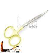 LAJA IMPORTS SCISSORS 11cm INCH LA GRANGE CURVED GOLD PLATED HANDLE DENTAL GUM SCISSORS WITH TUNGSTEN CARBIDE EDGES EXTRA SHARP AND DURABLE