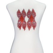 1 Pair Leaves Red Beads Crystal Applique Iron on Patches Hot Fix Rhinestones Embelishment Motif DIY Design Craft T2306