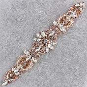 Crystal Rhinestone Applique, Bridal Wedding Belts Applique Pearls Beaded Decorations Sparkle Elegant Handcrafted Sewing on or Hot Fix for Gown Prom Evening Dress Sashes - Rose Gold