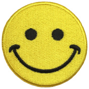 Yellow Smile Emotion size 7 cm biker heavy metal Horror Goth Punk Emo Rock DIY Logo Jacket Vest shirt hat blanket backpack T shirt Patches Embroidered Appliques Symbol Badge Cloth Sign Costume Gift