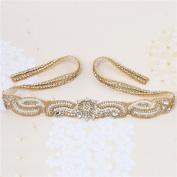 Wedding Bridal Sash Applique 80cm x 4.3cm Crystal Rhinestone Applique Beaded long Handmade Sewn Iron on for DIY Wedding Bridal Belts - Gold