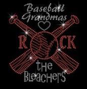 Hot Baseball Rock the Bleachers Rhinestone Iron on Transfer
