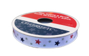 Americana Patriotic White Ribbon 1cm x 6.4m Red Blue and Silver Stars