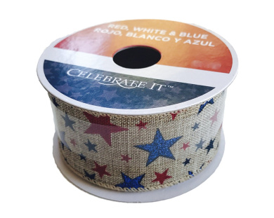 Americana Patriotic Brown Ribbon 3.8cm x 2.7m Red and Blue Stars Wired Edge