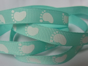 Grosgrain Ribbon - Pastel Green Baby Foot Print - 1cm Wide - 5 Yards, Baby Shower Favours, Crafts!