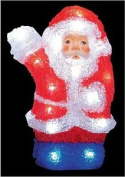 Acrylic Santa 24 White Led Illumination Battery Powered Christmas Decoration