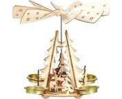 Wooden Christmas Pyramid Tealight Windmill. Winter Children With Snowman
