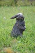 Bunny Rabbit Cast Iron Garden Statue With Aged Bronze Finish