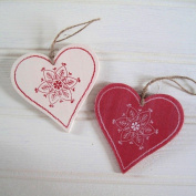 Nordic Style Floral Garland Wood Christmas Hanging Heart Decoration