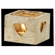 Grey Wooden Single Tea Light Holder Heart Shaped Windows Perfect Xmas