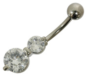 Belly Bar Navel Piercing Surgical Steel with Clear Crystals from Around Double