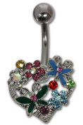 Navel/Belly Piercing Barbell HERZ-BLUME-SCHMETTERLING from Surgical Steel