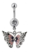 Trend Accessory Zone Piercing, Belly Rings, Stainless Steel, 1.6 X10 mm, Zirconia White, Butterfly Pink NO, 1600307