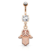 HBJ Unisex Hamsa Pink Belly Bar Stainless Steel Brass with Clear 1.6 mm x 10 mm N14804