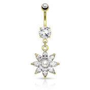 HBJ Unisex Belly Bar Stainless Steel Brass with Clear Pearl White Flower 1.6 mm x 10 mm N15570