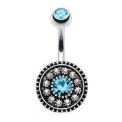 BodyJ4You Vintage Shield Belly Bar Button Ring