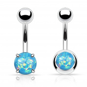 Created-Opal Belly Bar Button Rings Prong Set 2 Pack Set