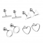 JOVIVI 8pc Stainless Steel Hollow Round/Triangle/T Bar/Heart Barbell Cartilage Tragus Helix Stud Earrings 16 Gauge 0.6cm Bar