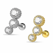 SL Silver Plated Woven Collection Set of 2 Helix Ear Piercing with Crystal