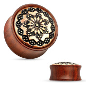 Blue Palm Jewellery - Plugs Adult Pair of 00 Gauge(10mm) Floral Tribal Pattern Rose Wood Saddle Fit Double Flare Plug FE2