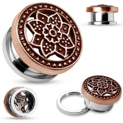 Blue Palm Jewellery - Plugs Adult Pair of 1/2 Inch (12mm) Burnish Bronze Tribal Lotus Surgical Steel Screw Fit Flesh Tunnel E511